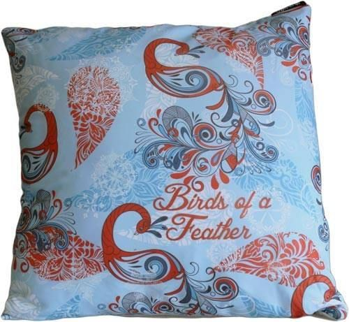 Birds of a Feather, Teal and Ruby Peacock Design Cushion Cover