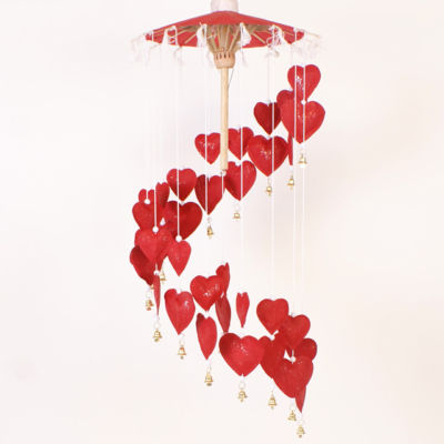 Fair Trade Paper Heart Mobile Red
