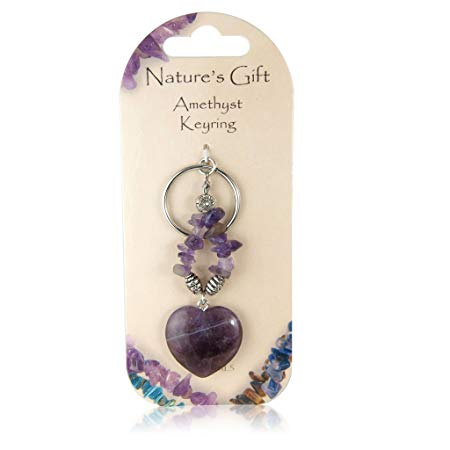 Natures Gift Heart Shaped Amethyst Keyring