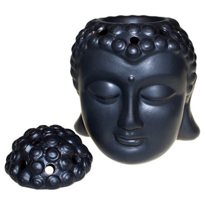 Oriental Black Thai Buddha Head Oil Burner