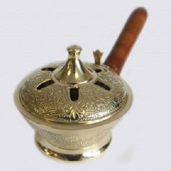 Ornate Brass Censer Incense Burner, Handmade