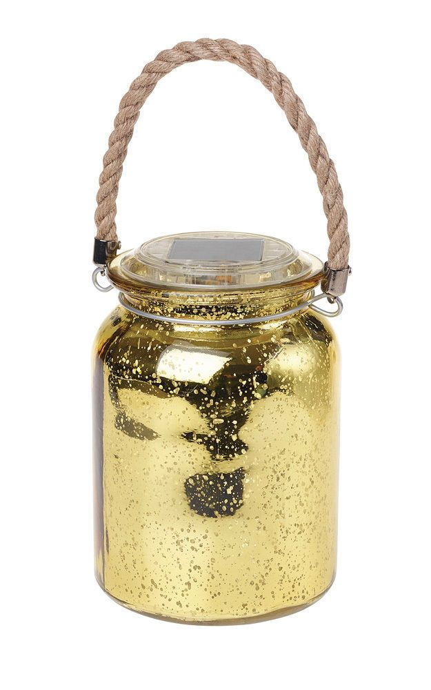 Solar Foil Effect Hanging Jar, Gold