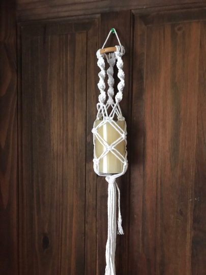 White Cotton Macrame Hanging Candle Holder complete with LED Wax Candle