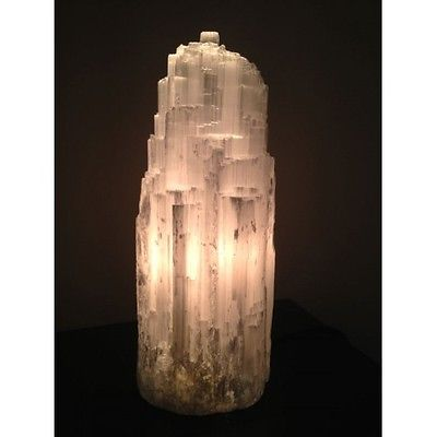 White Selenite Lamp approx  20cm Tall